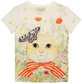 Gucci Children's cat and flowers print T-shirt