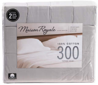 6pc 300tc Cotton Sheet Set With 2 Bonus Pillowcases