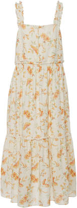 LoveShackFancy Ann Floral-Print Cotton and Linen-Blend Midi Dress