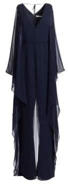Halston Women's Dramatic Georgette Overlay Wide-Leg Jumpsuit - Dark Navy - Size 0