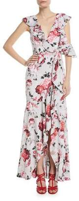 Fame & Partners The Beckman Ruffle Floral High-Low Gown