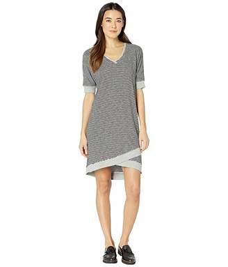 Mod-o-doc Skinny Stripe Dolman Sleeve T-Shirt Dress with Rib Trim