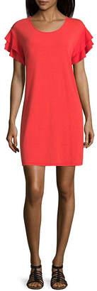 Arizona Short Sleeve A-Line Dress-Juniors