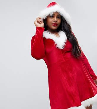 Club L Plus plus santa christmas dress with faux fur trim