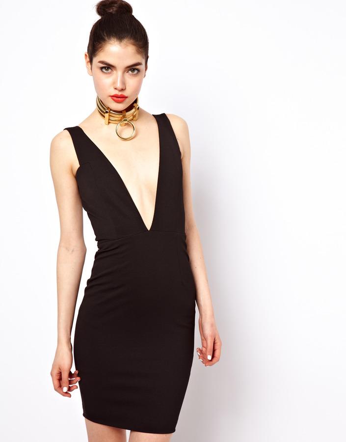 Aqua Hackford Dress With Plunging Neckline