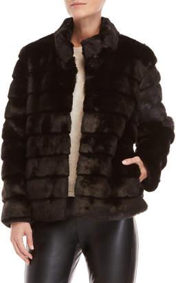 Karl Lagerfeld Paris Black Faux Fur Topper Coat
