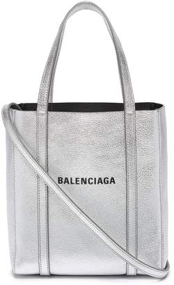 Balenciaga 'Everyday XXS' logo embossed metallic leather crossbody tote