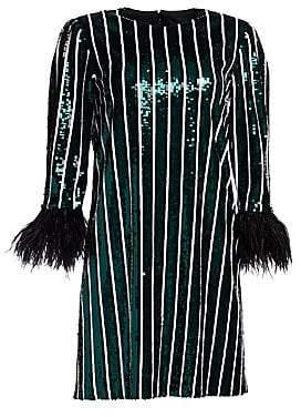 Badgley Mischka Women's Striped Sequin Feather-Cuff Shift Dress