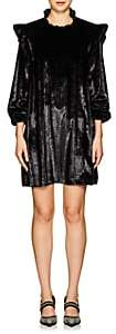 Opening Ceremony Women's Metallic-Striped Velvet Ruffled Dress - Black