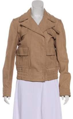 Gucci Leather Notch-Lapel Jacket