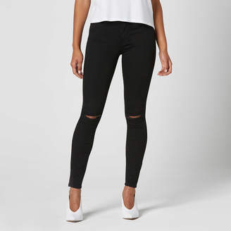 DSTLD Ripped High Waisted Skinny Jeans in Black Powerstretch