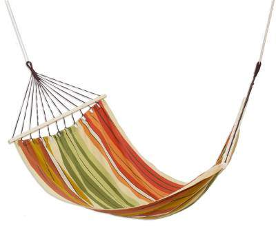 Autumnal Paradise Striped Cotton Hammock from Guatemala (Single)