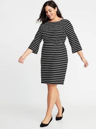 Old Navy Striped Textured-Knit Plus-Size Sheath Dress