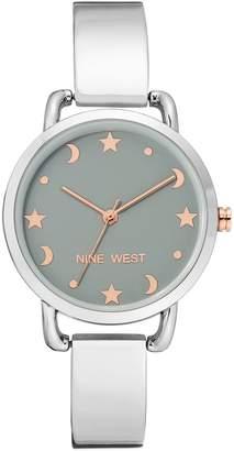 Nine West Women's Silvertone Star & Moon BangleWatch