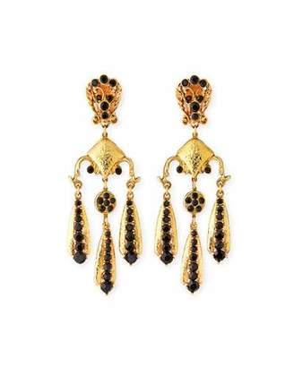 Jose & Maria Barrera Jet Black Triple-Drop Clip-On Earrings