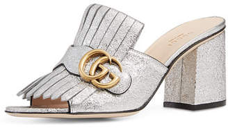 Gucci Marmont Metallic Leather 75mm Mule $795 thestylecure.com