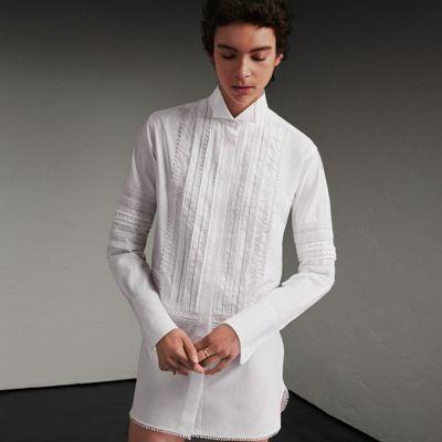 Burberry Burberry Cotton Shirt Dress with Pintucks and Macramé Trim