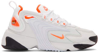 Nike Off-White and Orange Zoom 2K Sneakers
