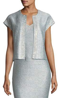 St. John Gleam Metallic Knit Short-Sleeve Jacket