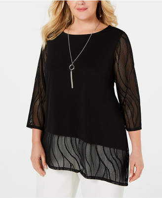 JM Collection Plus Size Asymmetrical Necklace Top, Created for Macy's