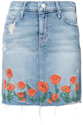 Mother embroidered denim skirt