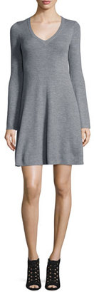 BCBGMAXAZRIA Althea Merino Wool V-Neck Sweater Dress $298 thestylecure.com