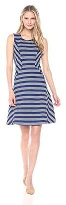 Lark & Ro Women's Short Sleeve Mitered Stripe A-Line Dress
