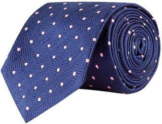 Turnbull & Asser Herringbone Polka Dot Silk Tie