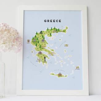 Pepper Pot Studios Map Of Greece Print