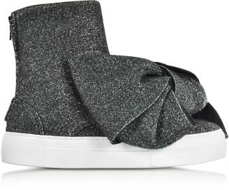 Joshua Sanders Black Lurex Bow Slip on Sneakers