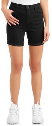 Wallflower Juniors' High Rise Midi Denim Shorts