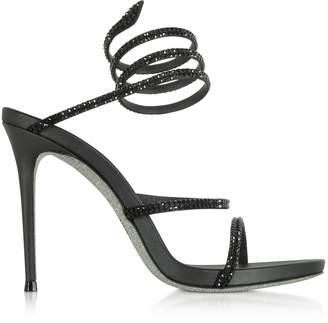 Rene Caovilla Black Satin and Strass High Heel Sandals