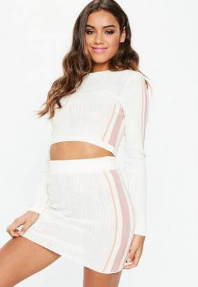 Missguided White Co Ord Ribbed Knit Side Stripe Skirt