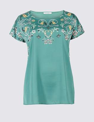 Marks and Spencer Printed Satin Short Sleeve T-Shirt