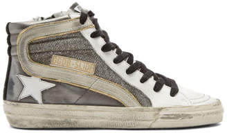 Golden Goose Gunmetal Shimmer Slide High-Top Sneakers