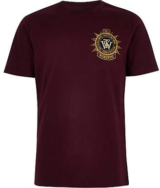 River Island Boys burgundy embroidered badge T-shirt