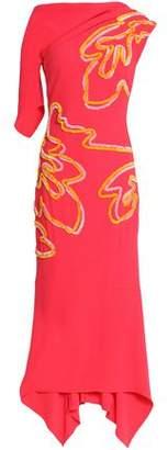 Peter Pilotto Asymmetric Appliquéd Crepe Gown