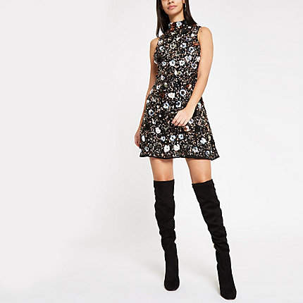 Womens Black sequin embellished high neck mini dress