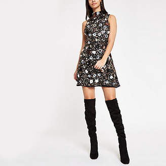 River Island Black sequin embellished high neck mini dress