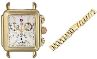 Michele Women's Deco Analog Display Swiss Quartz Gold Watch Head with Stainless Steel Bracelet