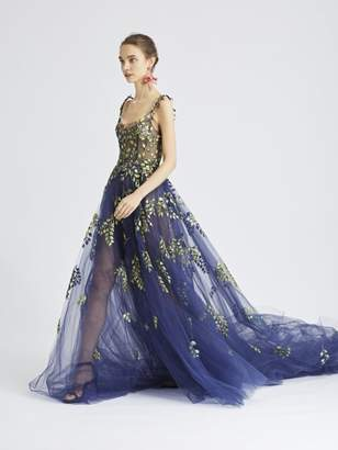 Oscar de la Renta Botanical Branch-Embroidered Tulle Gown