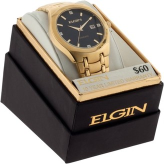 Elgin Gold-Tone Men's Analog Watch with Diamond Dial