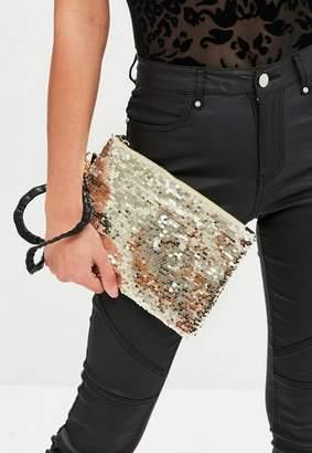 Missguided Gold Zip Top Sequin Clutch Bag