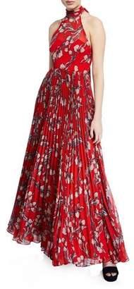 Fame & Partners The Zora Halter-Neck Leaf-Print Dress