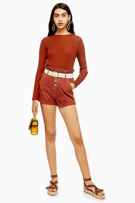 Topshop Rust Paperbag Denim Shorts