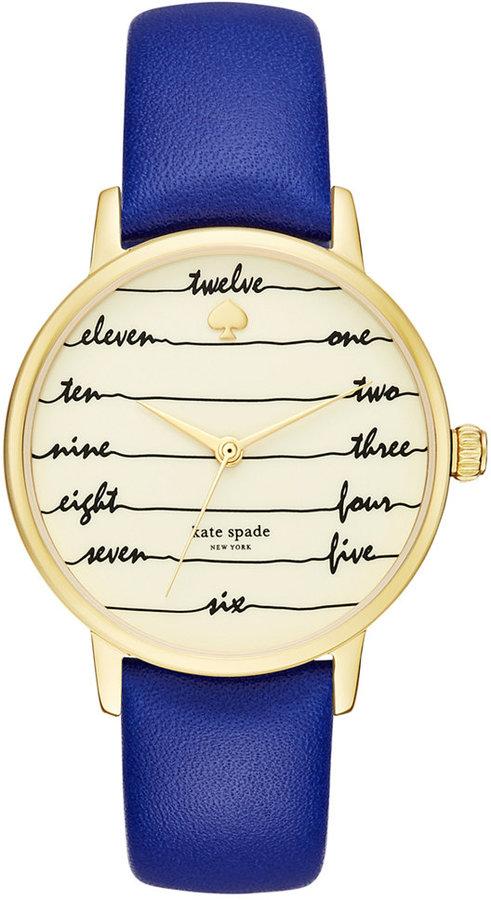 Kate Spadekate spade new york Women's Metro Blue Leather Strap Watch 34mm KSW1238