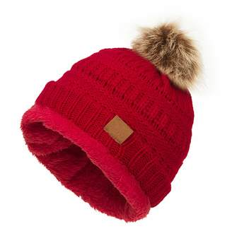 08c7324db41 Ymombest Womens Winter Hats Soft Cable Knit Cap Warm Fleece Lined Beanie Hat