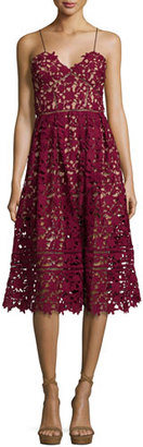 Self-Portrait Azaelea Guipure-Lace Illusion Dress, Burgundy $480 thestylecure.com