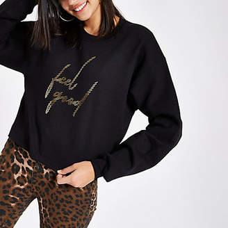 River Island Womens Black 'feel good' print cropped sweatshirt