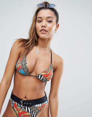 Jaded London Vintage Print Triangle Bikini Top